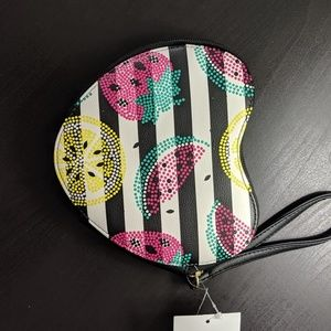 Betsey Johnson Bags - Luv Betsey Heart Shaped Striped Coin Purse